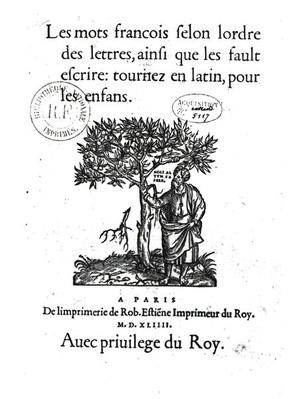 Titlepage of the first French-Latin dictionary, 1544