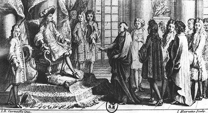 Members of the French Academy presenting the dictionary to Louis XIV