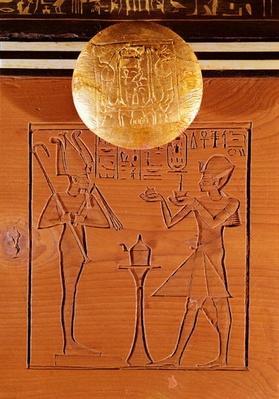 Portable chest, detail of Tutankhamun
