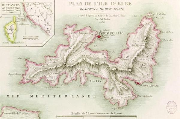 Map of the Island of Elba, engraved by Jean-Baptiste Tardieu