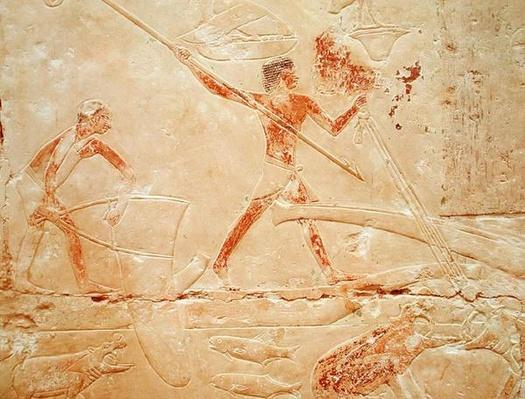 Relief depicting fishing with a net and harpooning a hippopotamus, from the Tomb of Princess Idut, Old Kingdom, c.2330 BC