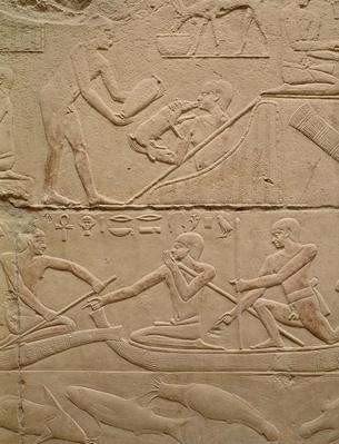 Relief depicting a man tending a new-born piglet and men in papyrus boats, from the Mastaba of Kagemni, Old Kingdom