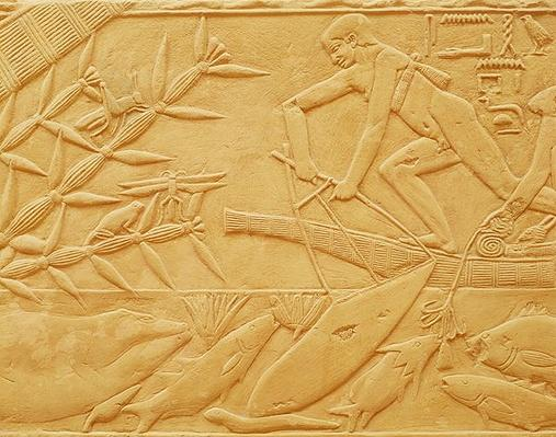Fishing scene, from the Mastaba of Kagemni, Old Kingdom