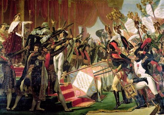 The Distribution of the Eagle Standards, 5th December 1804, detail of the standard bearers, 1808-10