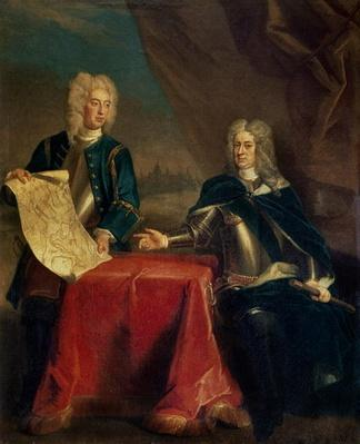 Duke of Marlborough discussing plans for the Siege of Bouchain with his Chief Engineer, Colonel Armstrong