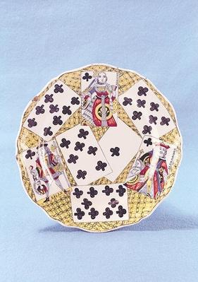 Plate decorated with a trompe l'oeil of eighteenth century playing cards, Lille