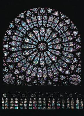 North transept rose window depicting the Virgin and Child in the centre surrounded by Old Testament characters, c.1250