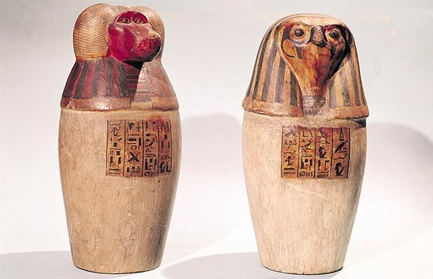 Copies of two New Kingdom canopic jars