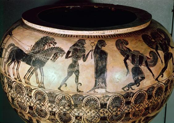 Attic black figure dinos depicting Hermes, Athena and Medusa decapitated, c.580 BC