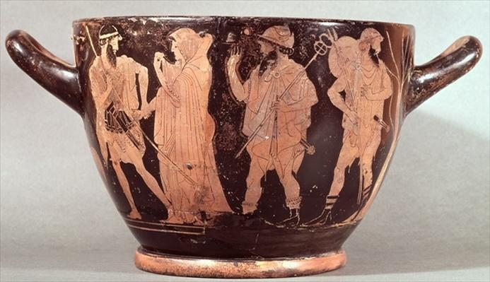 Attic red figure skyphos depicting the abduction of Briseis by Agamemnon with Talthybios and Diomedes, c.480 BC