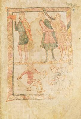 Ms 18 fol.14 The Acolytes of David, from a psalter