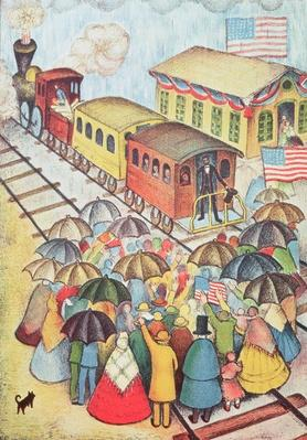 Lincoln Leaving Springfield, Illinois by Train (pastel on paper) by American School