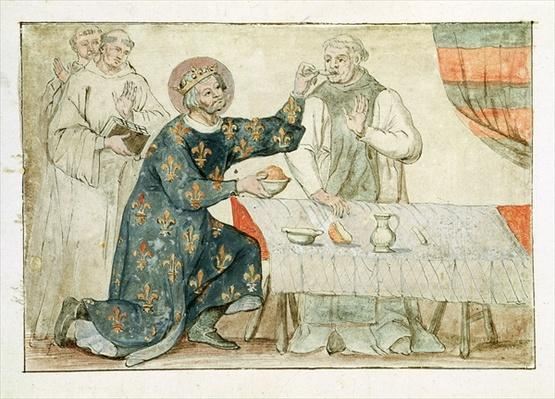 Ms 1779 fol.81 St. Louis feeding a miserly monk, from 'Memoires pour la Vie de Saint Louis'