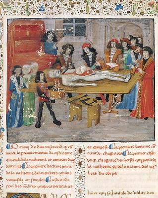Ms H 184 fol.14v Dissection lesson at the Faculty of Medicine in Montpellier, from 'La Grande Chirurgie' by Guy de Chauliac, 1363