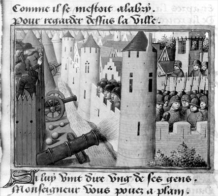 Ms Fr 5054 fol.54v The Siege of Orleans, from the Vigils of Charles VII, c.1484