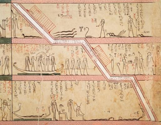 Descent of the sarcophagus into the tomb, from the Tomb of Tuthmosis III