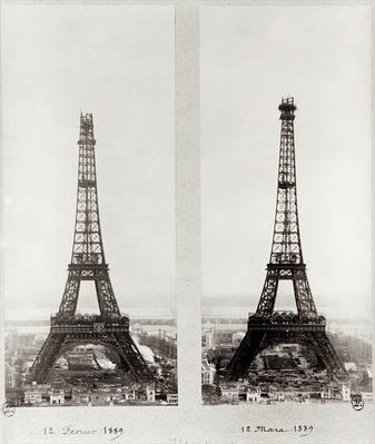 Two views of the construction of the Eiffel Tower, Paris, 12th February and 12th March 1889