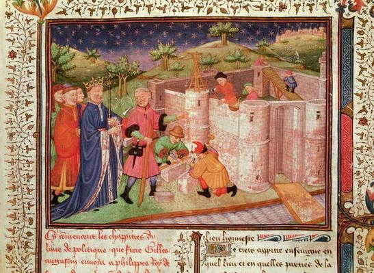 Ms 1015 fol.1 Construction of a Castle, from 'Gouvernement des Rois et des Princes