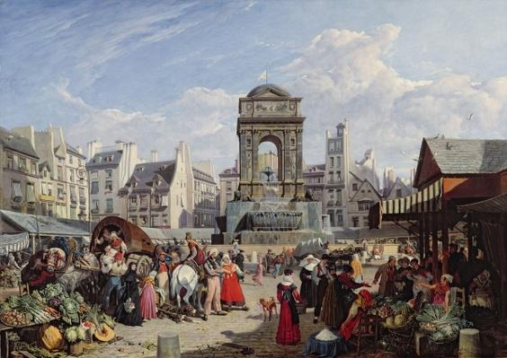 The Market and Fountain of the Innocents, Paris, 1823