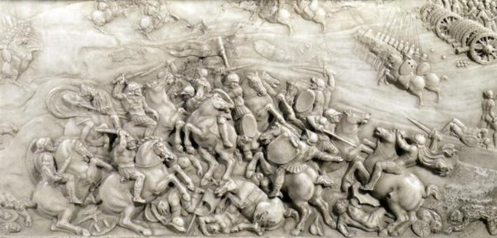 The Battle of Agnadello, 14th May, 1509, detail from the Tomb of Louis XII
