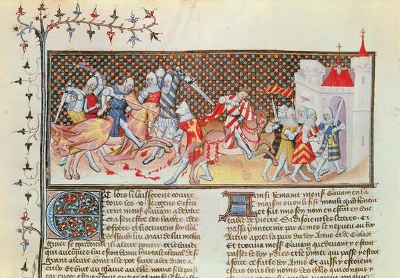 Ms 3479 t.1 fol.558 Scene of knights fighting, from the 'Livre de Messire Lancelot du Lac'