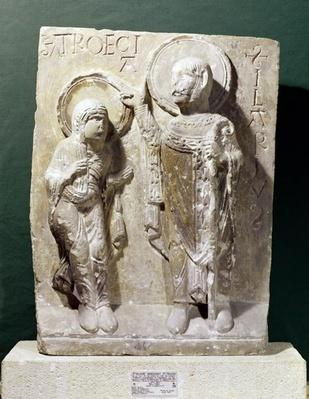 Relief depicting St. Hilary of Poitiers