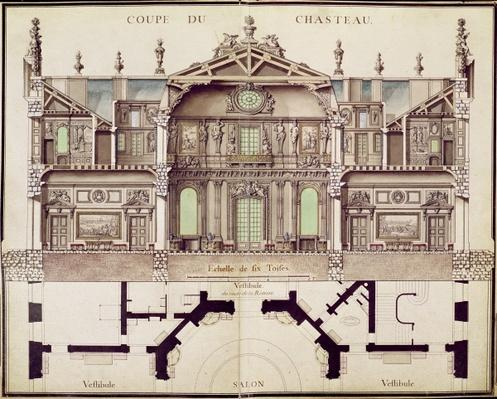 Cross-sectional plan of the Chateau de Marly, 1714