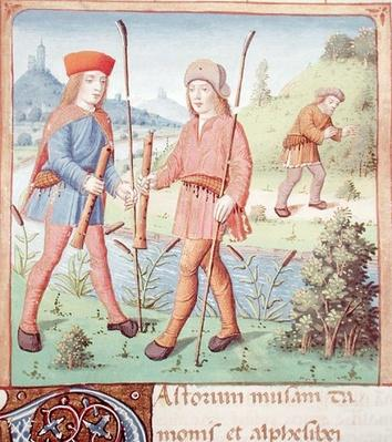 Ms 493 fol.14 Shepherds by a river, from 'The Eclogues' by Virgil with a commentary by Servius, 1469