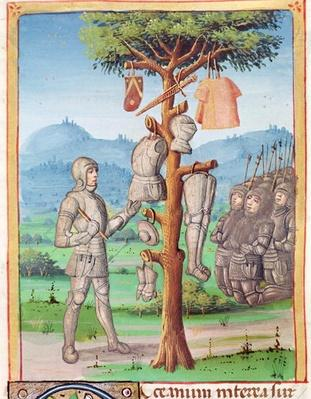 Ms 493 fol.193v Aeneas hangs the armour of Mezentius from an oak tree, from 'The Aeneid' by Virgil with a commentary by Servius, 1469
