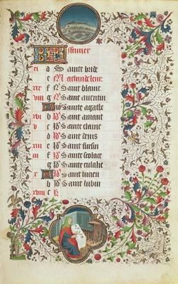 Ms 19 February: Pisces and a man feasting, from a Book of Hours, early 15th century