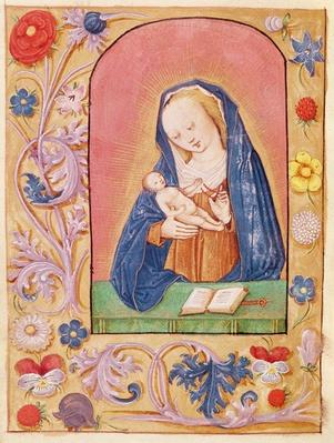 Ms 20 fol.42v The Virgin and Child playing with a rosary, from a Book of Hours, early 15th century