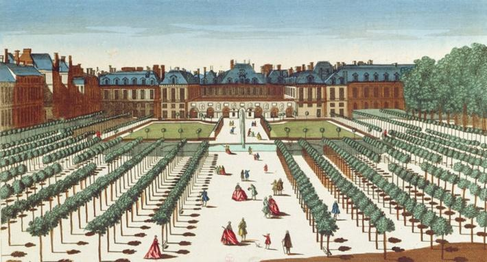 Perspective view of the Palais Royal from the Gardens
