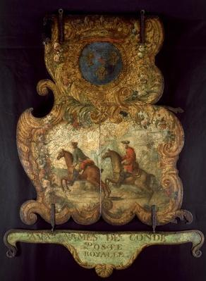 Sign for the Royal Mail of Chantilly with the Conde coat of arms