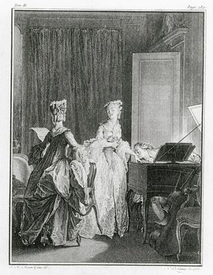 The Harpsichord, illustration from 'La Nouvelle-Heloise' by Jean-Jacques Rousseau