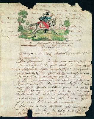 Illustrated letter from a hussar of the 8th Regiment to his mother, 14th November 1808