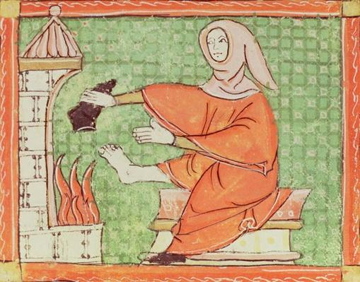 Fol.58r February: Warming by the Fire