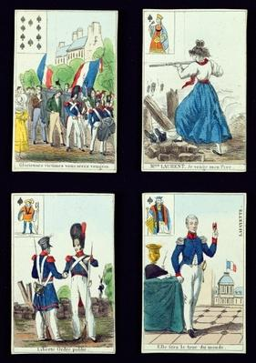 Selection of playing cards relating to the 1830 Revolution, 1831