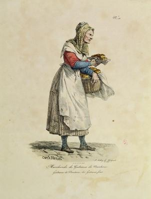 The Nanterre Cake Seller, number 10 from 'The Cries of Paris' series, engraved by Francois Seraphin Delpech
