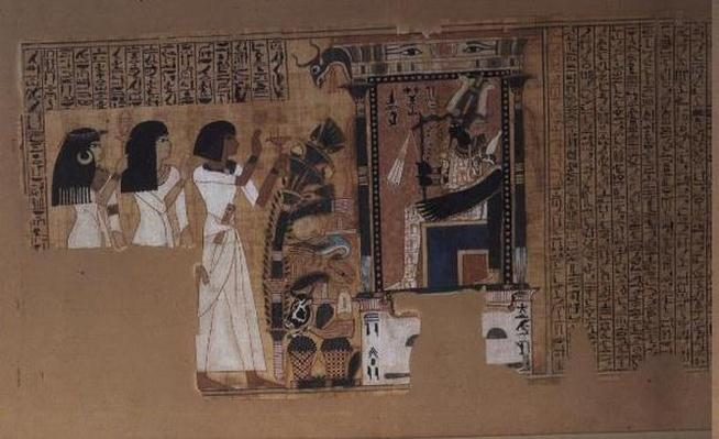 Book of the Dead of the scribe Nebqed, detail of the deceased before Osiris, New Kingdom, c.1400 BC