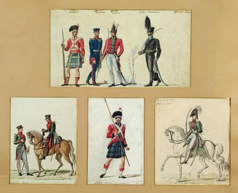 The uniforms of Scottish soldiers and Prussian, English, Hanoverian and Russian officers in 1814