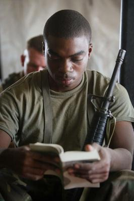 Church Service For U.S. Marines Held In Field | World Relgions: Christianity