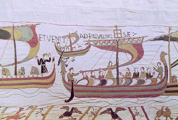 Duke William and his Fleet Cross the Channel to Pevensey, from the Bayeux Tapestry, before 1082
