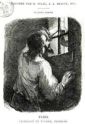 Edmond Dantes imprisoned in the Chateau d'If, illustration from 'The Count of Monte Cristo' by Alexandre Dumas