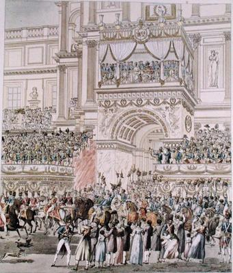 The Emperor and the Empress Receiving the Homage of the French Troops from the Balcony of the Tuileries on the Occasion of their Marriage, engraved by Charles Pierre Joseph Normand