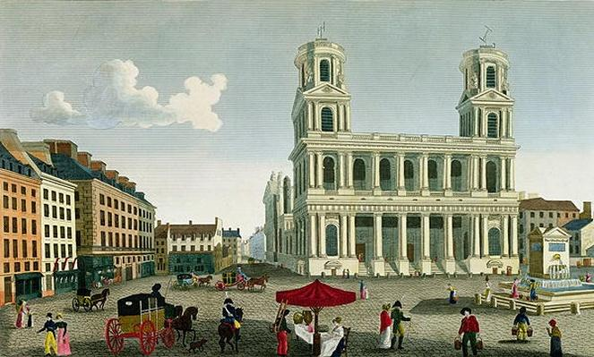 View of the Church of Saint-Sulpice, engraved by Anne Rosalie Filleul