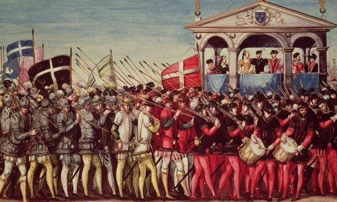 The Cortege of Drummers and Soldiers at the Royal Entry Festival of Henri II