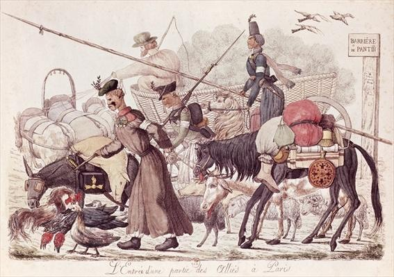 Caricature depicting the Entry into Paris of a Part of the Allied Troops, 1814