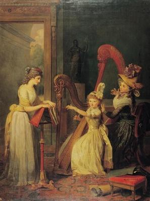 Harp lesson given by Madame de Genlis to Mademoiselle d'Orleans with Mademoiselle Pamela Turning the Pages, c.1842