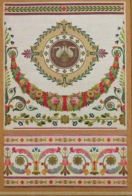 Panel of silk with a garland of flowers and swans from Pernon, Lyons
