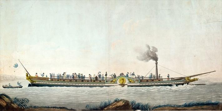 The Charles-Philippe, the first steamboat launched on the Seine, 20th August 1816